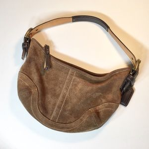 Brown Suede Coach Hobo